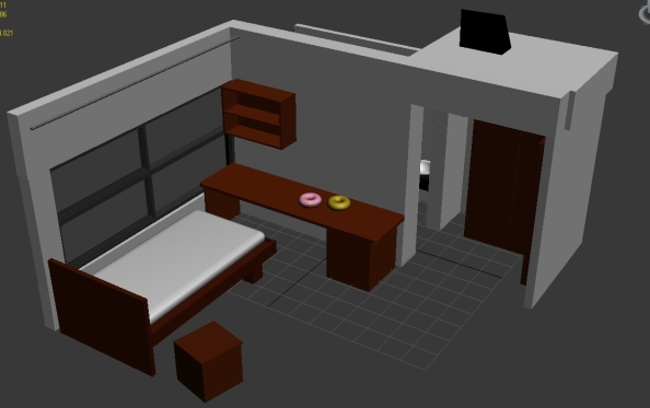 Model of hostel room, made in 3ds max.